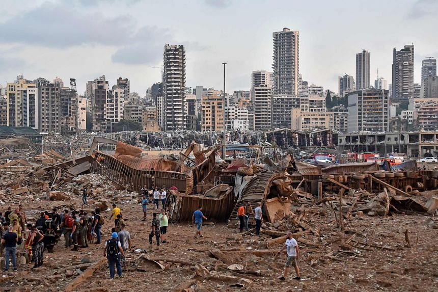 A picture shows the scene of the explosion in Beirut on Aug 4, 2020. -