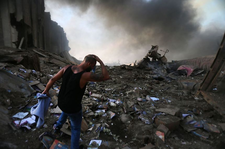 A picture shows the scene of the explosion at the port in Beirut on Aug 4, 2020.