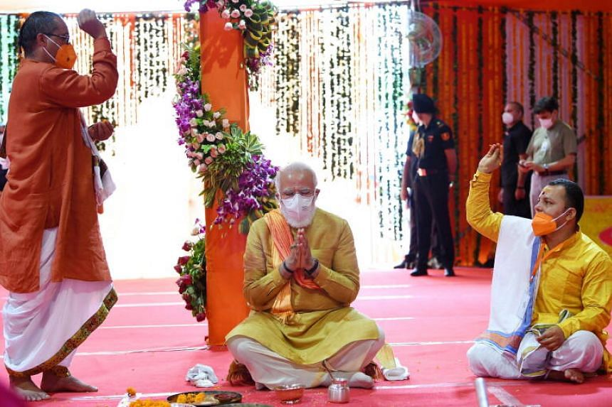 Mr Modi took part in prayers along with a handful of others at the ceremony in Ayodhya on Aug 5, 2020.