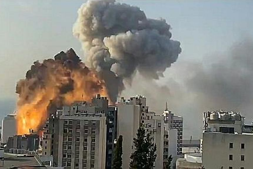 Footage taken on Tuesday and filmed from a high-rise building shows a fireball exploding (above) after an earlier explosion at the port of the Lebanese capital Beirut. The two huge blasts killed at least 100 people and wounded thousands, with the sho