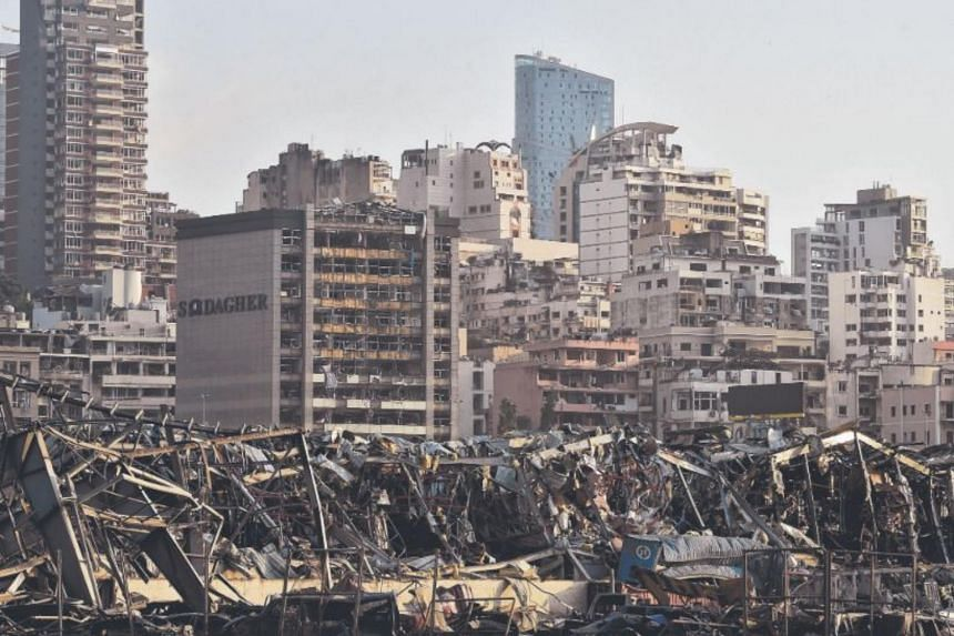 A view of damaged buildings at the harbour area after a large explosion rocked the area of Beirut, Lebanon, on Aug 4, 2020.