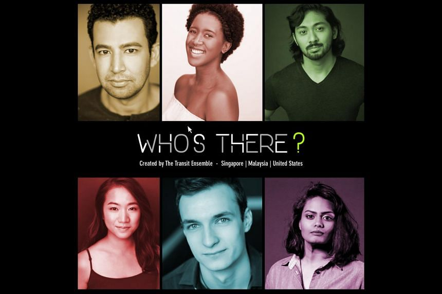Poster for cross-border Zoom production Who's There featuring (clockwise from top left) Ghafir Akbar, Camille Thomas, Sean Devare, Rebekah Sangeetha Dorai, Neil Redfield, and Sim Yan Ying.