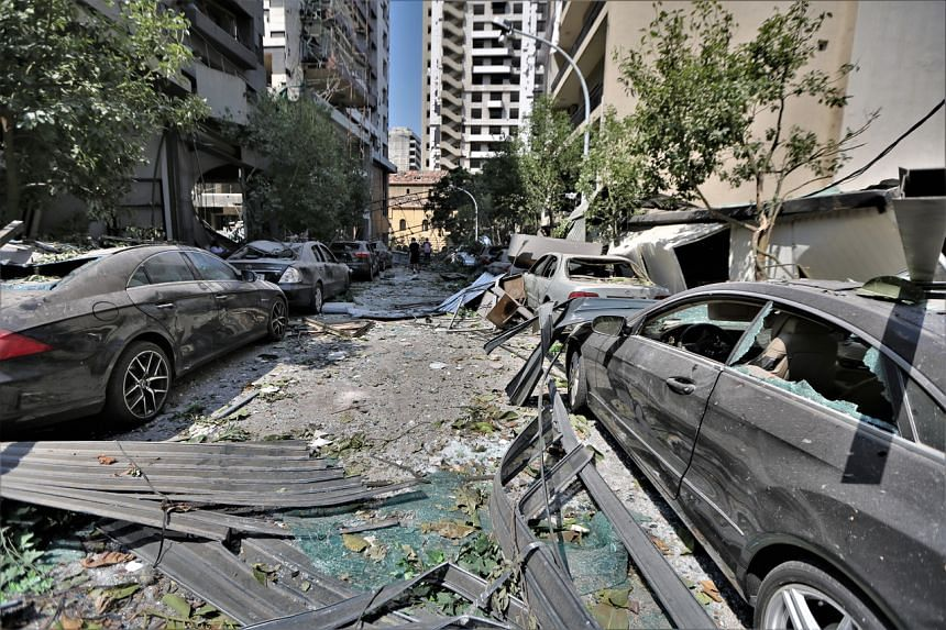 A view of damaged buildings after massive explosion in Beirut, Lebanon, on Aug 5, 2020.