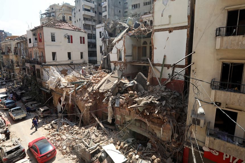 A view shows damaged buildings following a blast in Beirut's port area, Lebanon, on Aug 5, 2020.