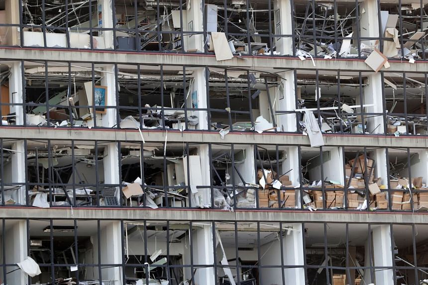 A damaged facade is seen following a blast at the port of Lebanon's capital Beirut, on Aug 5, 2020.