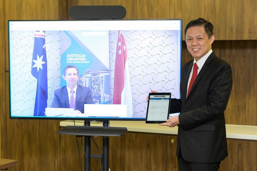 Trade and Industry Minister Chan Chun Sing at the virtual signing of the Singapore-Australia Digital Economy Agreement on Aug 6, 2020.