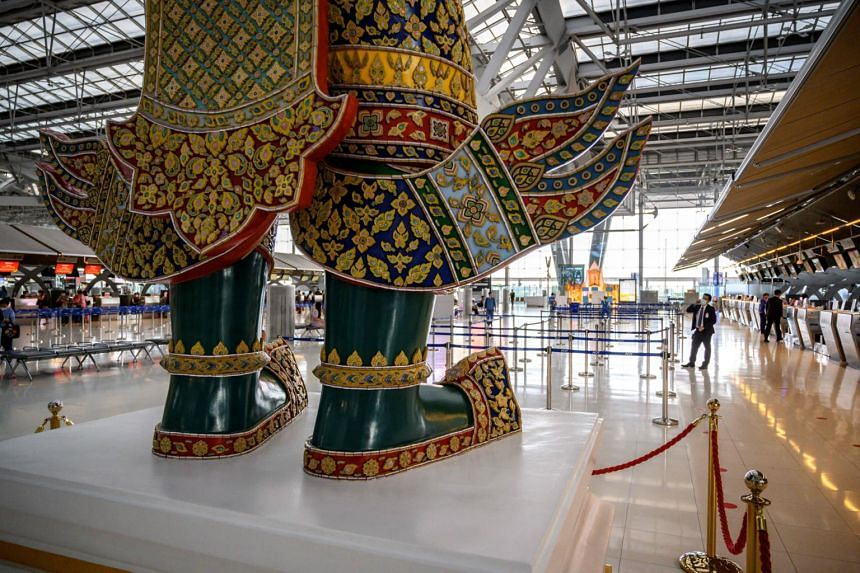 A view of the empty departure hall of Suvarnabhumi Airport in Bangkok on Aug 1, 2020.