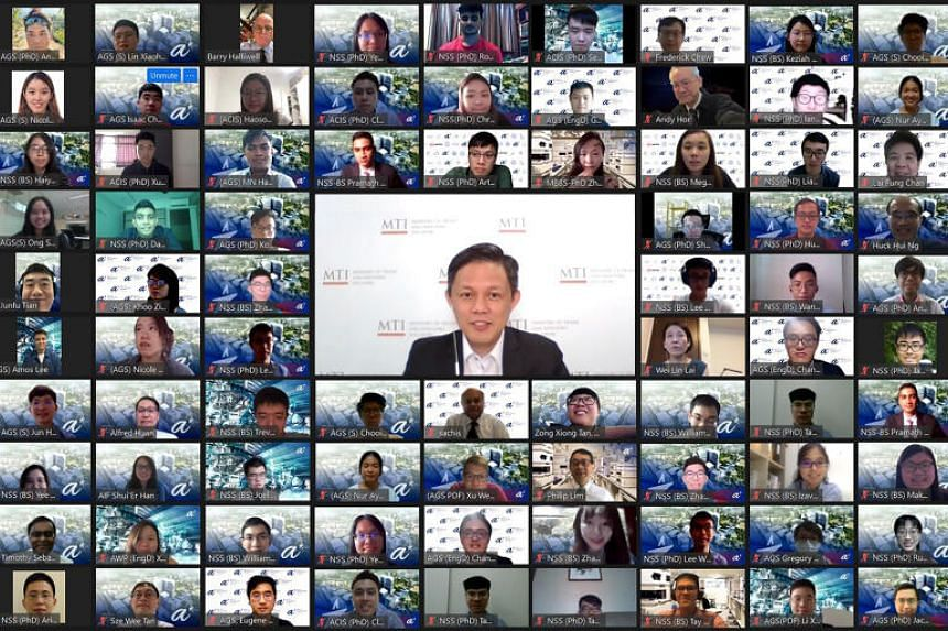 Minister for Trade and Industry Chan Chun Sing with A*Star Scholarship Award recipients on Zoom.