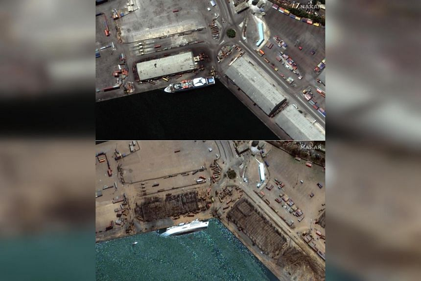 Satellite images show the Orient Queen cruise ship before the explosion in Beirut on Aug 4 and the cruise ship capsized on Aug 5, in the aftermath of the explosion.