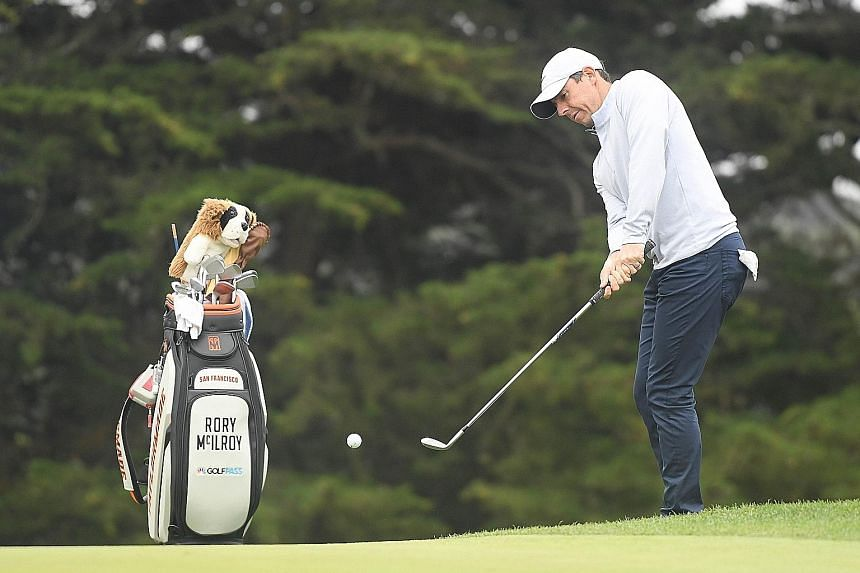 Four-time Major winner Rory McIlroy chipping on the 13th hole in Wednesday's practice round for the PGA Championship at TPC Harding Park. The Ulsterman wants to end his six-year Major drought this week in San Francisco.