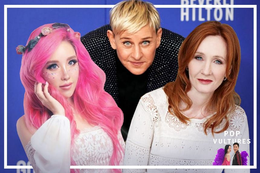 Celebrities who have had to face cancel culture include (from left) Singaporean influencer Xiaxue, American comedian and television host Ellen Degeneres and Harry Potter author J.K. Rowling.