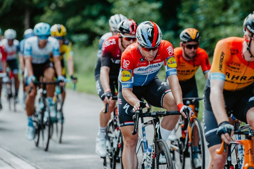 Jakobsen rides prior to crashing during the opening stage of the Tour of Poland race in Katowice, Aug 5, 2020.
