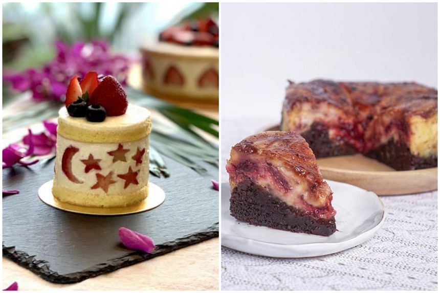 Strawberry cream cake from One O Ne Patisserie (left) and raspberry cheesecake brulee brownie from The Cocoa Spatula.