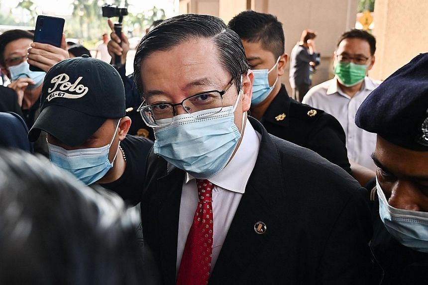 Former Malaysian finance minister Lim Guan Eng arriving at court in Kuala Lumpur yesterday. He is scheduled to be charged with further offences related to the undersea tunnel project and an unspecified case next week, according to the Malaysian Anti-