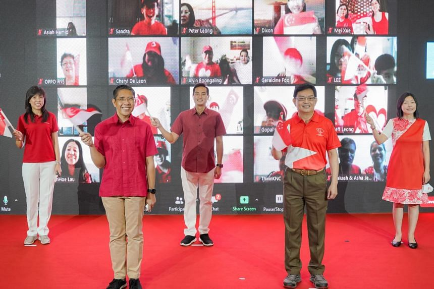East Coast GRC MPs (from left) Jessica Tan, Maliki Osman, Tan Kiat How, Heng Swee Keat and Cheryl Chan during the virtual National Day observance ceremony in Bedok on Aug 8, 2020.