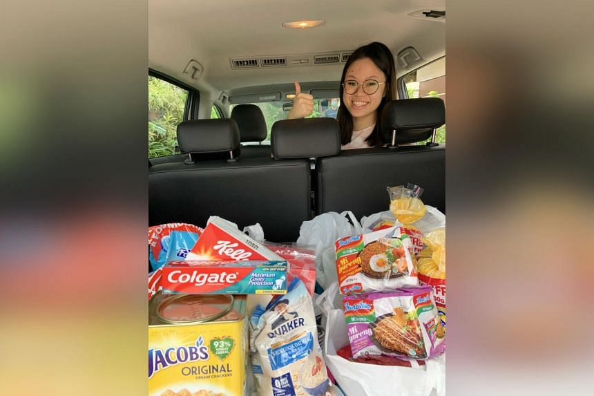 Undergraduate Emily Yap roped in friends and family to buy and distribute food to 10 low-income families with children who are beneficiaries of the Movement for the Intellectually Disabled of Singapore.
