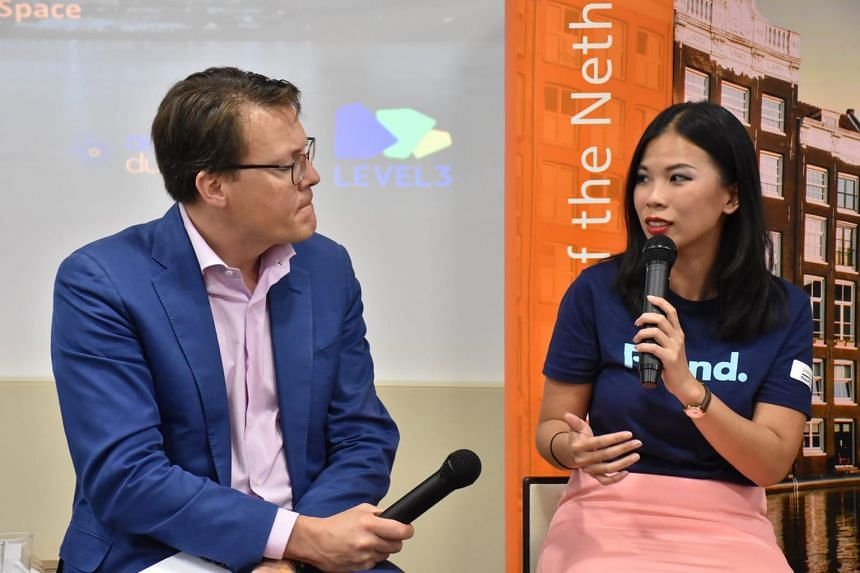 Ms Grace Sai with Prince Constantijn of the Netherlands in a panel discussion about the journey and struggles of a start-up founder held at the Unilever headquarters in Singapore in 2018. Co-working start-up pioneer Grace Sai is co-founder of Found8,
