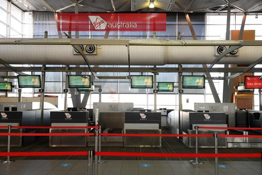 A photo of the Virgin Australia check-in area at Sydney Domestic Airport on Aug 5, 2020.