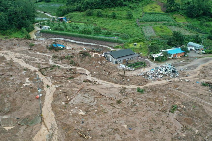 A general aerial view of a village that was devastated by a landslide in the Gokseong, South Korea, on Aug 8, 2020.