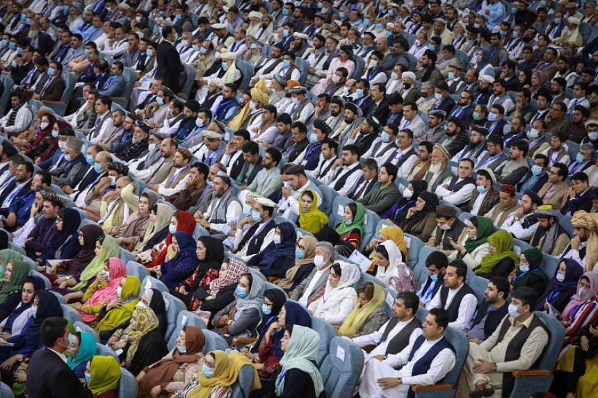 Delegates attend the Loya Jirga to discuss the release of Taleban prisoners, in Kabul, Afghanistan, on Aug 7, 2020.