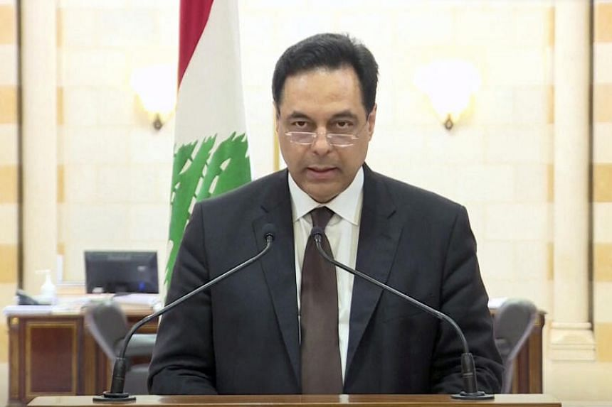 Lebanon Prime Minister Hassan Diab speaks at the government palace in Beirut, on Aug 10, 2020.