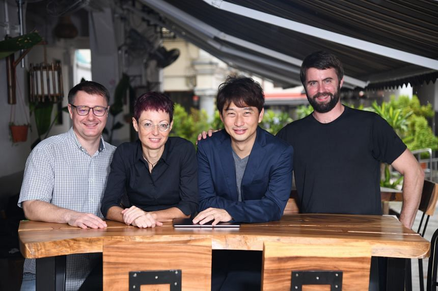 (From left) ImmunoScape adviser Evan Newell, chief operating officer Alessandra Nardin, chief executive officer Ng Choon Peng and director of scientific affairs Michael Fehlings. The company, a spin-off from the Agency for Science, Technology and Res