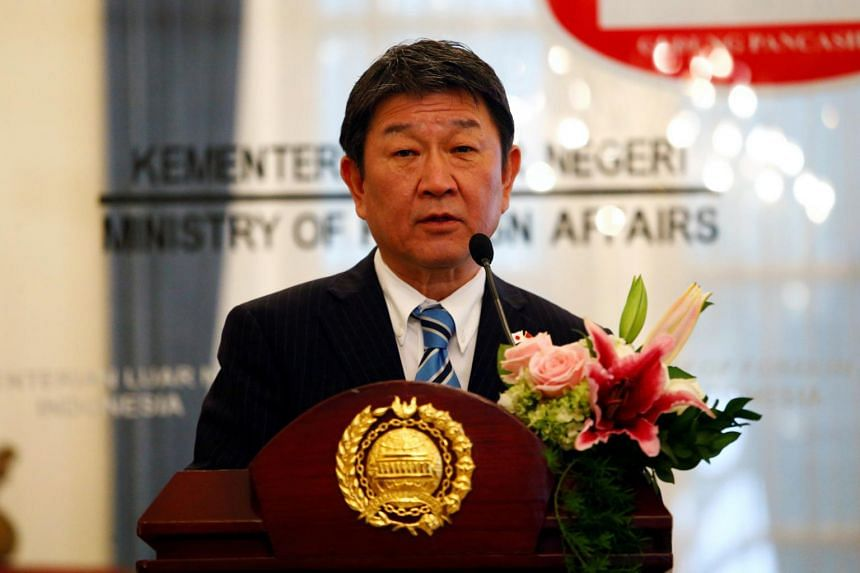 Japanese Foreign Minister Toshimitsu Motegi will have to take a Covid-19 test before leaving and returning to Japan, and travel on a chartered plane.