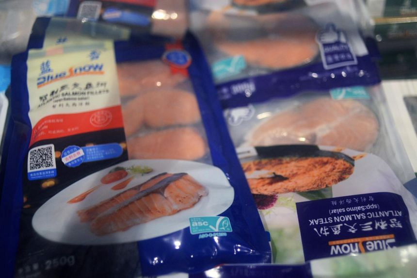 Frozen seafood products are seen at a supermarket in Beijing on June 17, 2020.