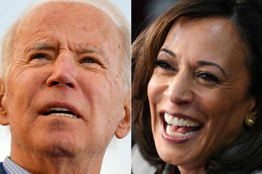 (From left) Mr Joe Biden, Ms Kamala Harris.