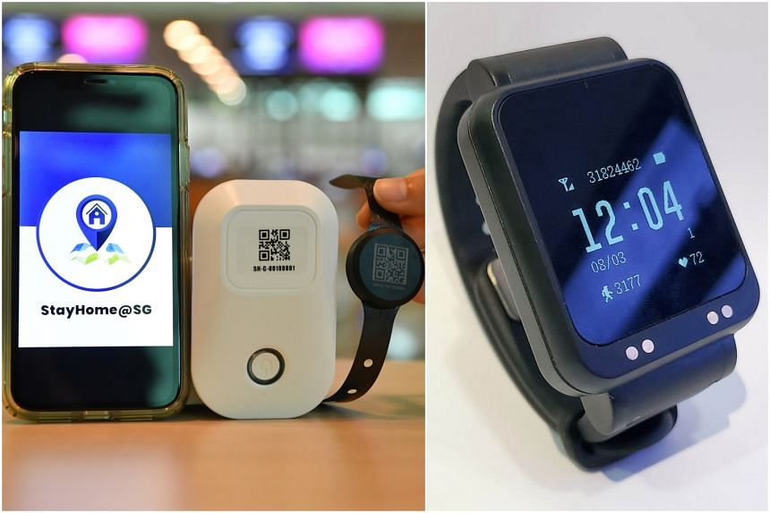 """ICA's wristband device (left) uses an app and another """"gateway"""" device, while MOM's smartwatch works on its own."""
