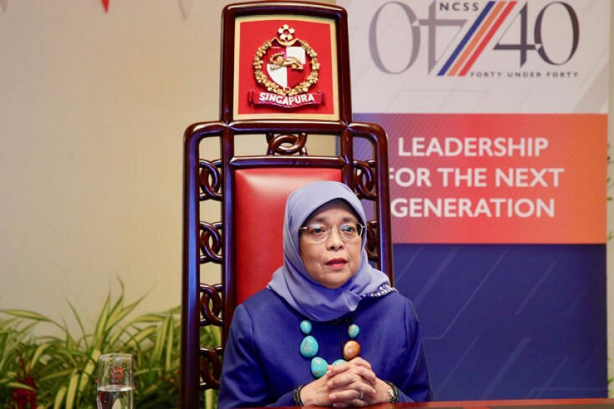 President Halimah Yacob delivering her opening remarks at the NCSS 40-under-40 virtual dialogue session on Aug 12, 2020.