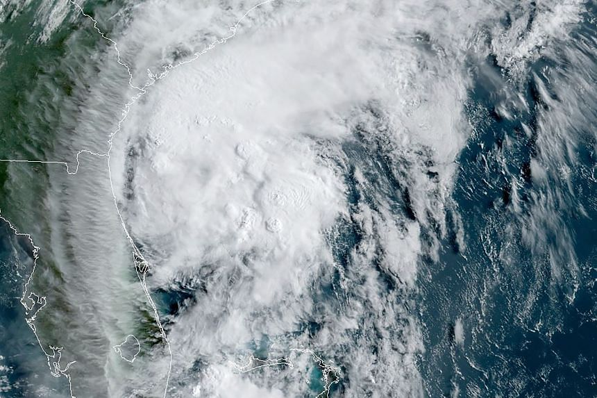 Tropical storm Isaias off the US southeast coast in the Atlantic Ocean on Aug 3, 2020.