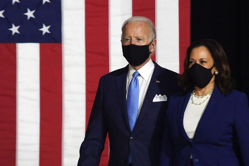Mr Joe Biden (left) and Senator Kamala Harris arrive to conduct their first press conference in Wilmington, Delaware, on Aug 12, 2020.