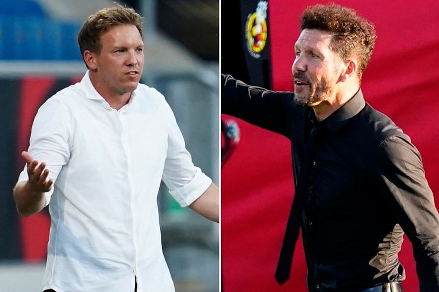 RB Leipzig coach Julian Nagelsmann (left) and his Atletico Madrid counterpart Diego Simeone are missing key personnel for today's game but will not let that stop their Champions League challenge.