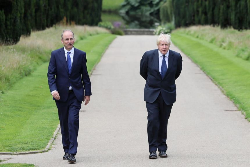Britain's Prime Minister Boris Johnson (right) and his Irish counterpart at the Hilllsborough Castle in Belfast, on Aug 13, 2020.