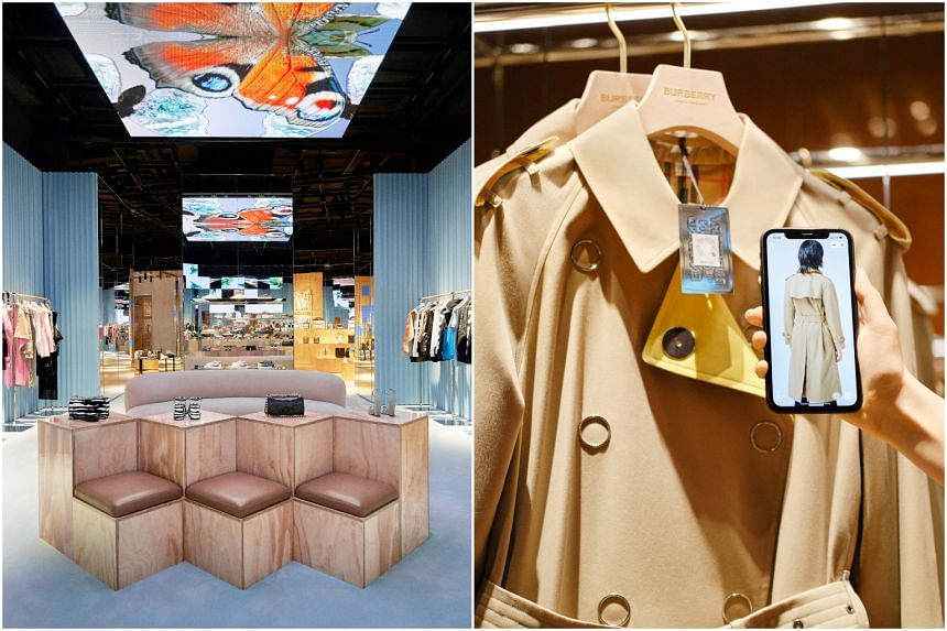 """At Burberry's first """"social retail"""" store in Shenzhen, shoppers can use the WeChat app to access a product's styling options by scanning its QR code or personalise their fitting room experience."""