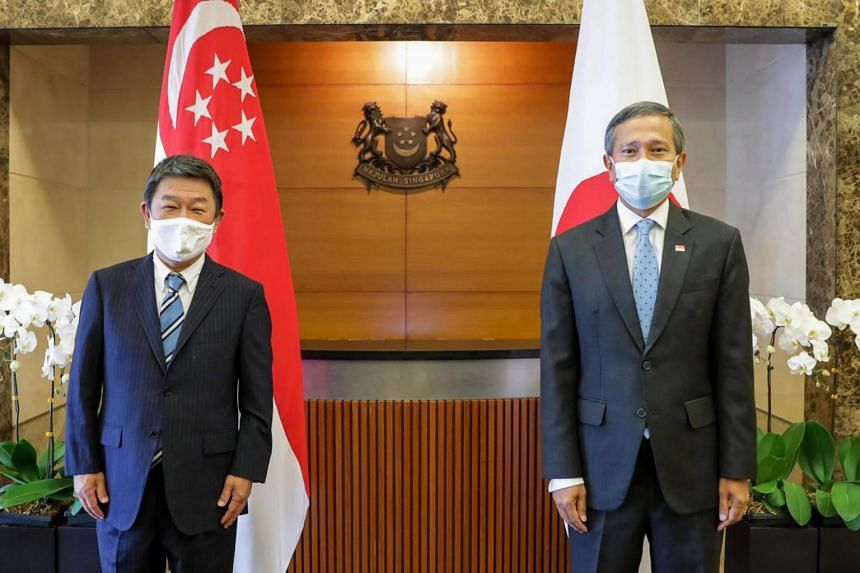 Meeting between Minister for Foreign Affairs Vivian Balakrishnan and his Japanese counterpart Motegi Toshimitsu (left) on Aug 13, 2020.