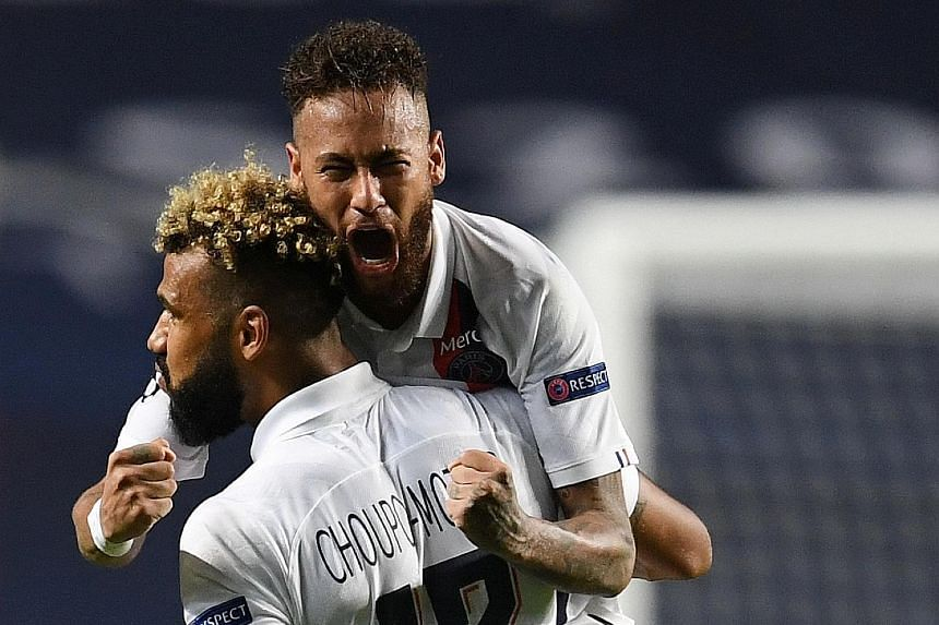 Top: PSG coach Thomas Tuchel, who injured his ankle last week, during their Champions League match against Atalanta. Right: PSG's Cameroon forward Eric Maxim Choupo-Moting celebrating with Neymar after scoring the winning goal to put the French Ligue