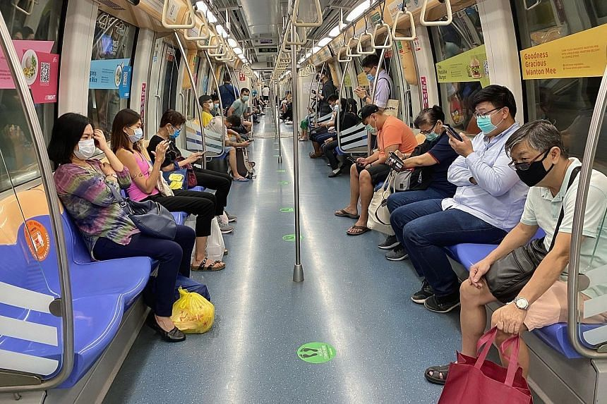 SBS Transit said that in the first six months of this year, average rail ridership fell by over 40 per cent for the MRT and over 30 per cent for the LRT. This was partially offset by average fares, which were 14.7 per cent higher for the Downtown Lin