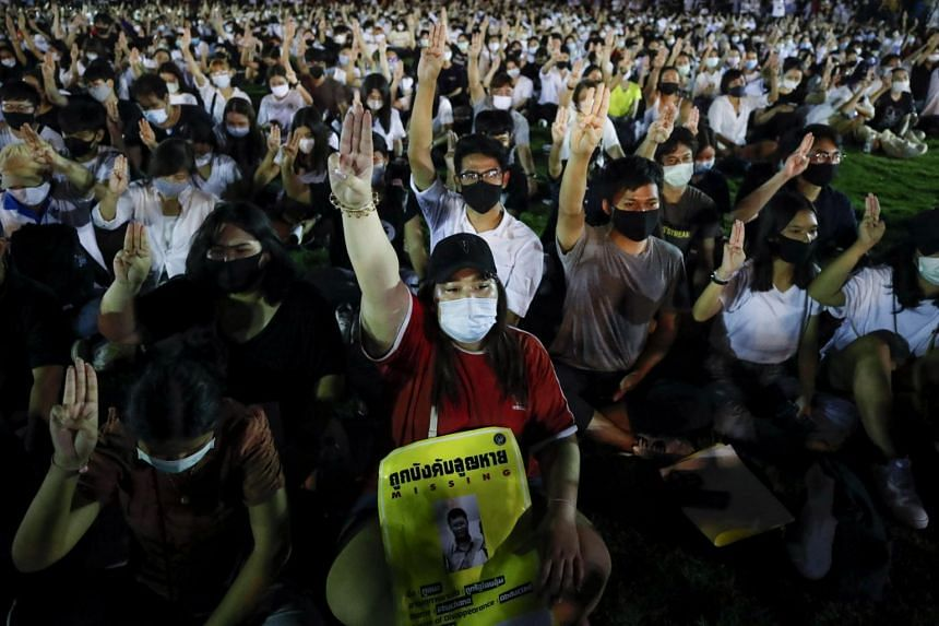 Pro-democracy demonstrators during an anti-government rally at Thammasat University in Bangkok on Aug 10, 2020.