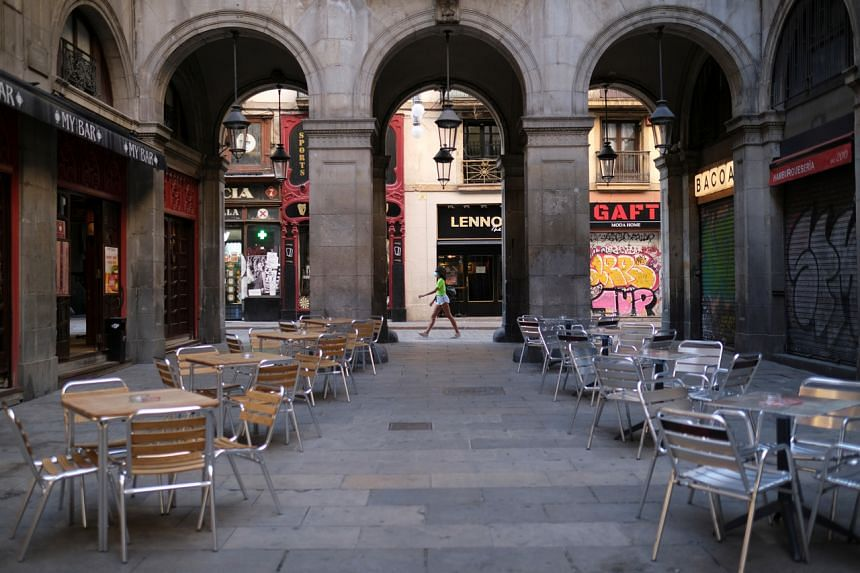 Empty terraces of bars at Plaza Reia in Barcelona on Aug 7, 2020.
