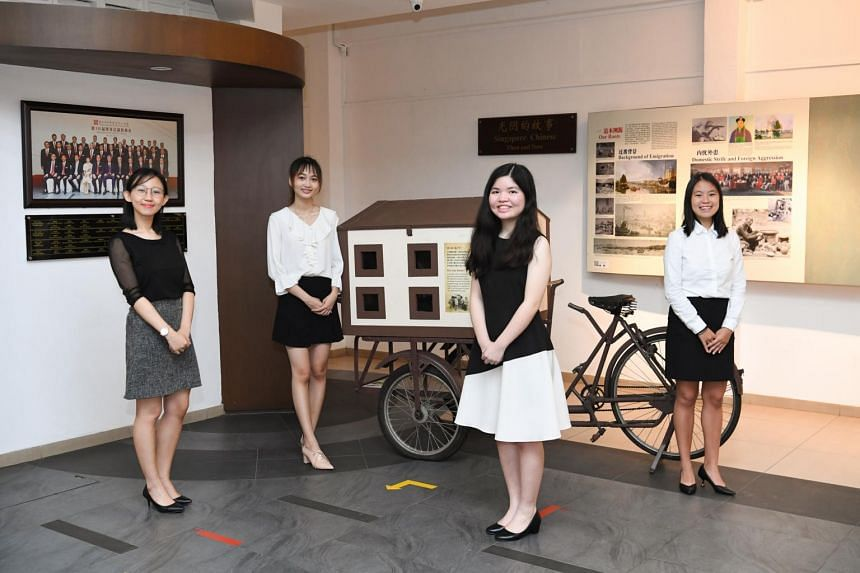 (From left) Rebecca Yang, Pek Ning Xuan, Lee Xin Ying Rachel and Shi Xinyao are four out of five recipients of the Singapore Federation of Chinese Clan Associations Scholarship.