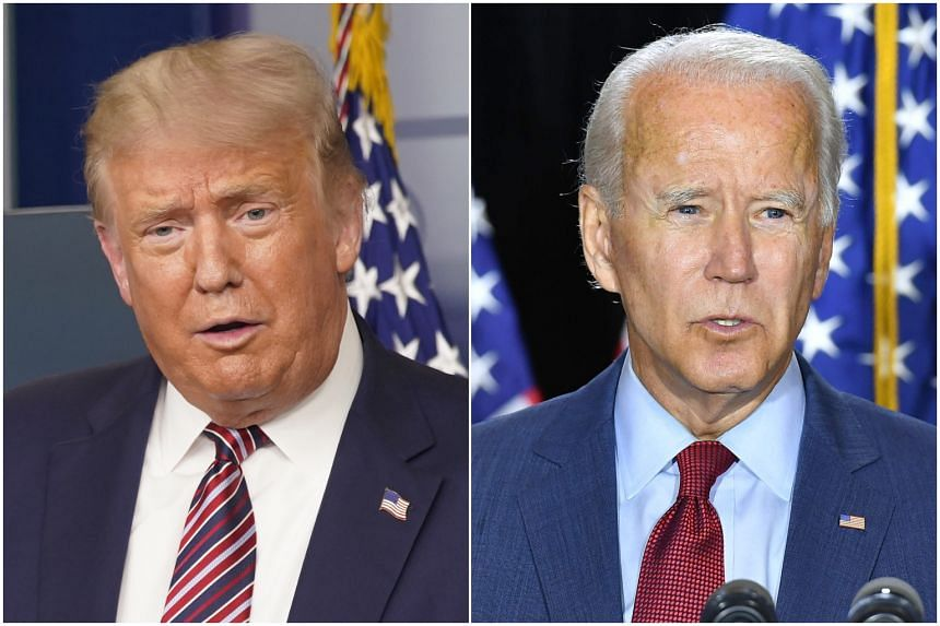 President Trump (left) rejected Democratic presidential candidate Joe Biden's approach of every governor requiring masks for the next three months.