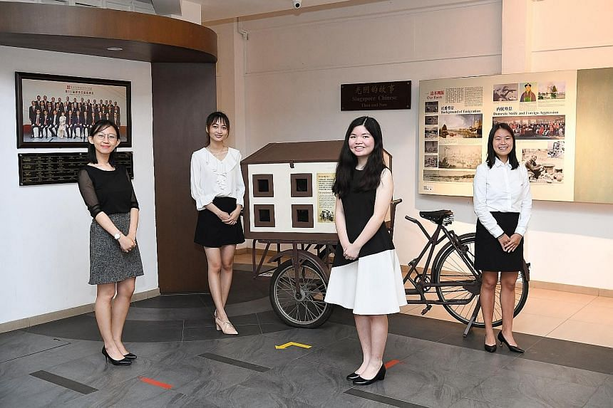 (From left) Ms Rebecca Yang, Ms Pek Ning Xuan, Ms Rachel Lee and Ms Shi Xinyao, as well as Ms Kuo Pei Yu (not in picture), received the Singapore Federation of Chinese Clan Associations Scholarship yesterday. Due to the pandemic, they will likely be