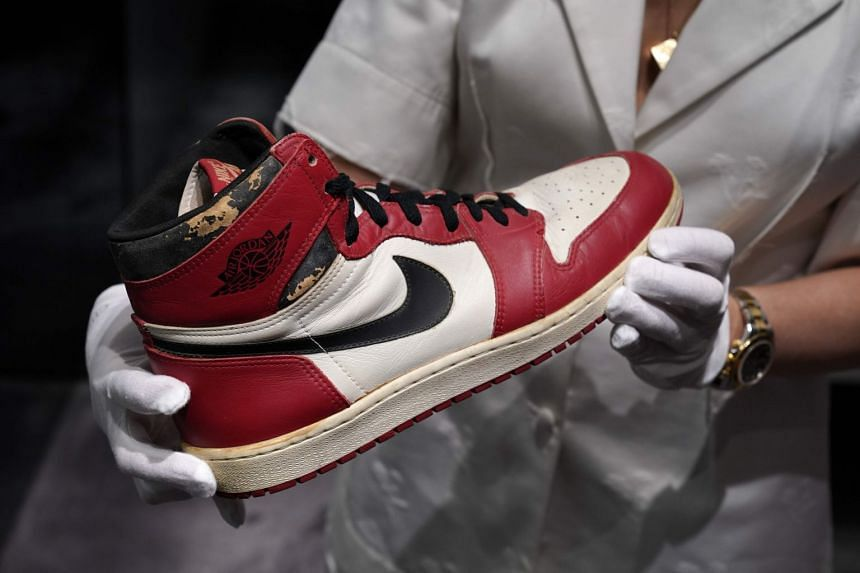One of the NBA megastar's Air Jordan 1 Highs that he wore in 1985, when he dunked the ball so hard it shattered the glass backboard.
