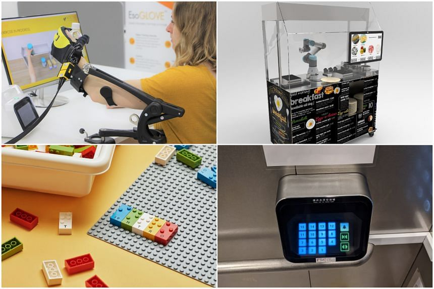 (Clockwise from top left) The EsoGlove, Bridget the Breakfast Brunch Maker, Holographic Button Module and Braille Lego.