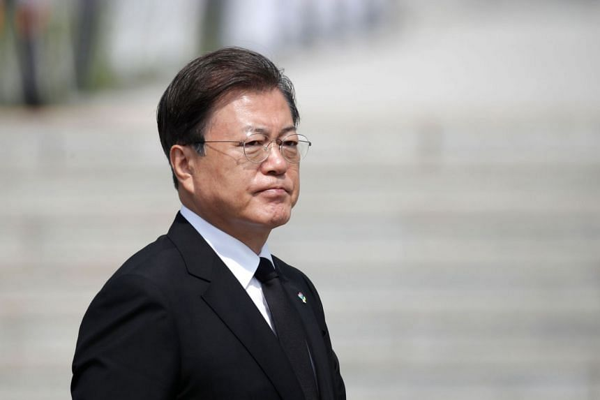 South Korean President Moon Jae-in (above) will give a speech to mark what is known as National Liberation Day.