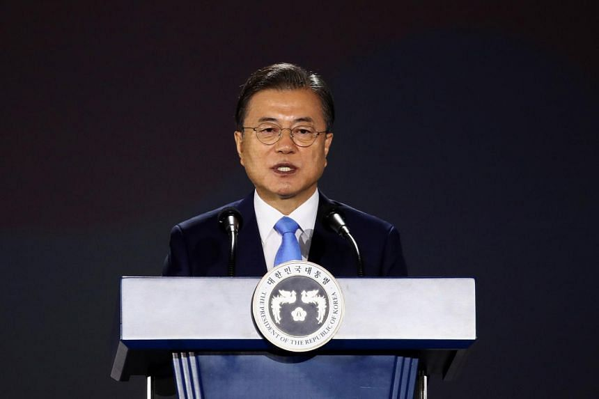 South Korean President Moon Jae-in during a ceremony to mark National Liberation Day in Seoul on Aug 15, 2020.