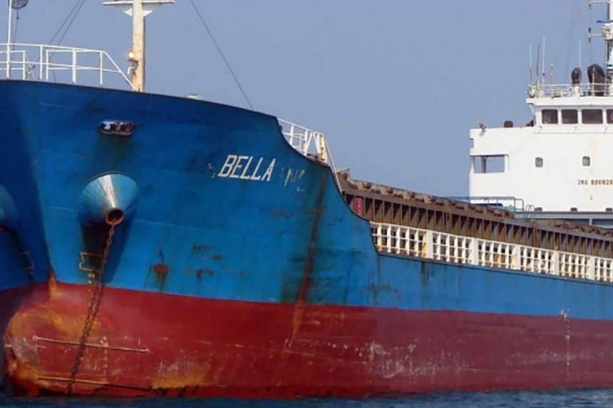 An undated image released by the US Department of Justice shows the Bella oil tanker.