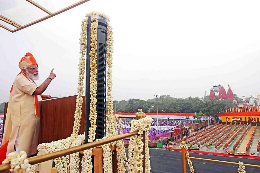"""Indian Prime Minister Narendra Modi addressing the nation on India's 74th Independence Day yesterday at Red Fort in New Delhi. He said relations with neighbours are now linked to """"security, progress and trust"""", adding: """"A neighbour isn't just someone"""